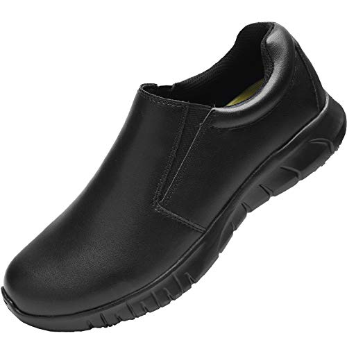 WNA Men's Slip Resistant Work Shoes Sneaker for Chef, Food Service, Walking and Casual - Size 10 - Black