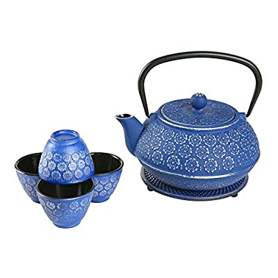 Japanese Cast Iron Teapot Sets,34 Oz Tea Kettle and Cups Set with Infuser for Loose Leaf Tea,Dark Blue