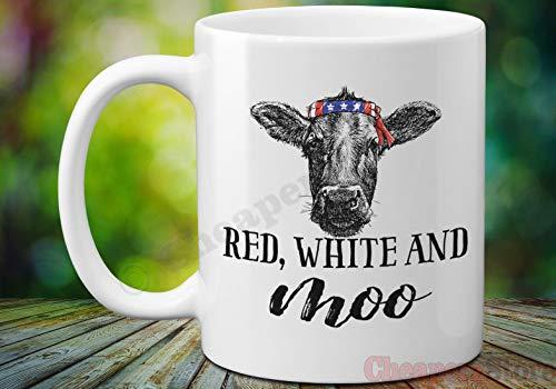 Betsy34Sophia koe met vlaggen-Bandana-beker rood wit en MOO 4. van Juli-koffiekopje-onafhankelijkheidsdag-beker-Amerikaanse vlaggen-beker-beker-cadeau