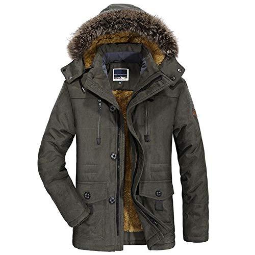 PASLWSSY Caliente de la capa de los hombres invierno extraíble con capucha Parka acolchada algodón casual piel falsa paño grueso y suave largo masculino chaqueta rompevientos,Verde,6XL