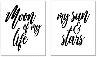 Crystal Game of Thrones Quote Prints - Set of 2 (8x10) A Song of Ice and Fire Khal Drogo and Daenerys Targaryen Romantic Wall Art Decor - Moon of My Life - My Sun and Stars