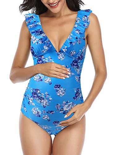 Summer Mae Premaman Costume da Bagno Donna Intero Un Pezzo Elegante Balza Incinta Ruching Costumi Interi Donna di maternità Mare Bikini da Spiaggia Blu S