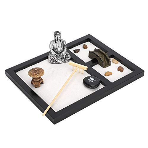 Sand Tray Decoration, Zen Garden Office Table Mini Zen Sand Garden Kit Tabletop Buddha Zen Garden Meditation Gifts