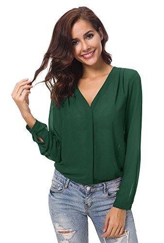 Urban GoCo Donne Camicette Manica Lunga Pieghe Chiffon con Scollo V Colore Puro Camicia Blusa Verde S