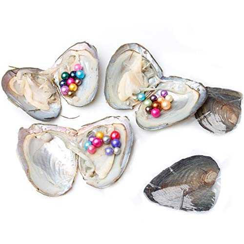 JNMM 5PC Pearl Oysters Freshwater Cultured with 10 Mix Color Round Love Wish Oysters with Pearls Inside 10 Colors (7-8mm), Valentines Mothers Day Birthday Gifts Pearl Wedding Party (Total 50 Pearls)