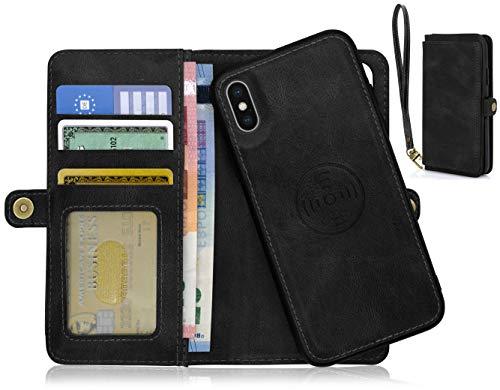 MyGadget Custodia Portafoglio Magnetica per Apple iPhone X/XS - Cover Flip Porta Carte (5 Scomparti) - Case Staccabile in Similpelle PU - Nero