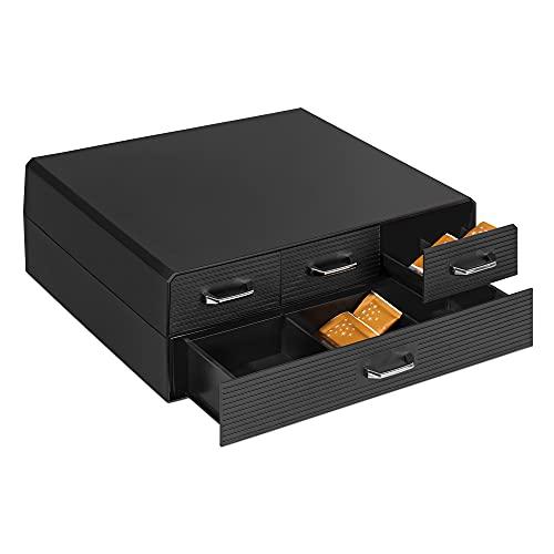 Navaris Cassetto Doppio Porta Cialde caffè - Contenitore per Capsule ESE e Accessori Zucchero Latte - Portacialde 4 Cassetti Macchina Espresso - Nero