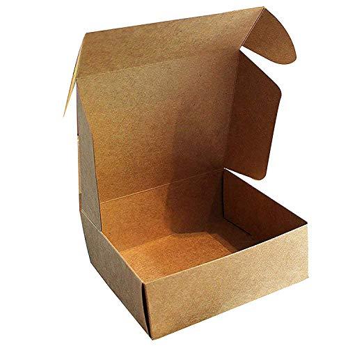 Kraft Cajas de Regalo (Pack de 10) - 13x12x5cm Marrón Kraft Papel Cajas de Regalo Autoensamblables para Presentación Regalo, Fiestas, Bodas, Galletas y Joyas