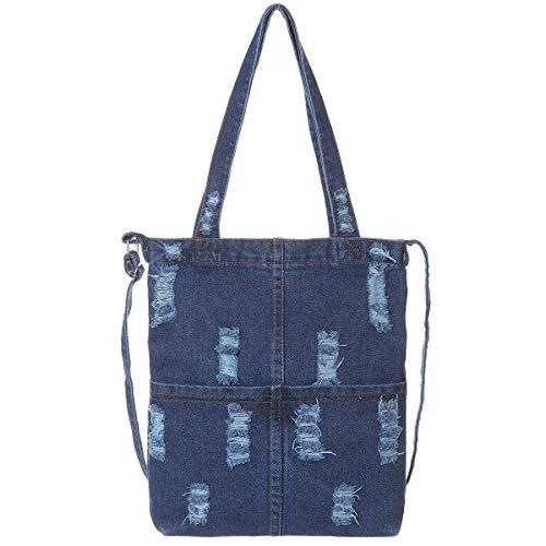 Jeans-Hobo-Handtaschen, Jeansstoff, für die Arbeit und Einkaufstasche, (Dunkelblau), Large