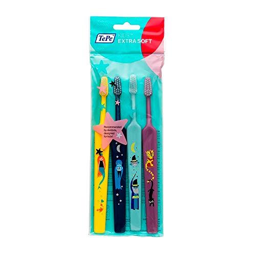 TEPE Kids Select Compact X-Soft – Die schonende Zahnbürste für Kinder, 1 x 4 Stück gemischt