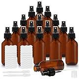 Belle Vous Bote Spray Pulverizador Cristal Ámbar 60 ml (Pack de 16) Botella con Rociador 2 Cuentagotas y Etiquetas – Frascos Vacíos Rellenables Aceites Esenciales, Limpieza, Aromaterapia y Perfume