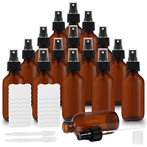 Belle Vous Bote Spray Pulverizador Cristal Ámbar 60 ml (Pack de 16) Botella con Rociador 2 Cuentagotas y Etiquetas – Frascos Vacíos Rellenables Aceites Esenciales, Limpieza, Aromaterapia y Per