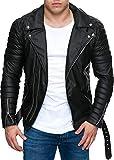 Reichstadt - Chaqueta de estilo motorista para hombre con cinturón extraíble, piel auténtica o sintética Negro – Rs001 Pu – Cremallera plateada. S