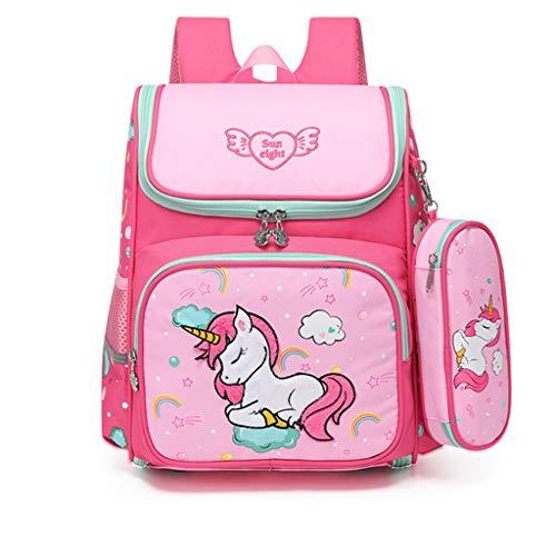 Kinderrucksäcke Grundschule Schultasche mit Federmäppchen, 2020 Personalisierter Schulrucksack für Mädchen Jungen Cartoon Schulranzen für Grundschüler 1-3 Klasse/6-9 Jahre Kinder(Einhorn)