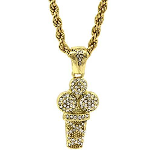 Jewel Town Mens 14k Gold Plated Hip-Hop Iced Ice Cream Cup Pendant 30' Rope Chain Necklace D766