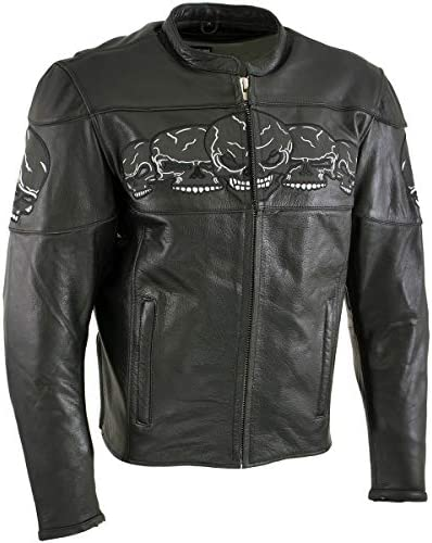 Xelement BXU6050 Men s 3 Skull Head Black Leather Motorcycle Jacket with X Armor Protection product image