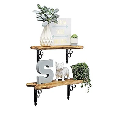 WELLAND Natural Edge Shelf Wall Mounted, Live Edge Wood Slab Shelves, Rustic Hanging Shelves, 20 and 24 inches (Set of 2)