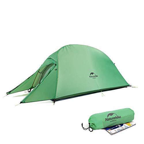 Naturehike CloudUp1 テント 1人用 設営簡単 超軽量 コンパクト 二重層 3シーズン 防風 防雨 アウトドア フィールドキャンプ ソロツーリング 登山 ハイキング サイクリング ((210T グリーン))
