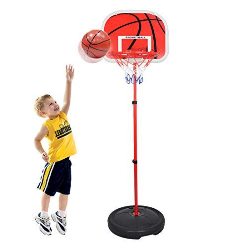 Batop 73-170CM Kinder Verstellbar Basketballkorb mit Ständer und Basketball, Tragbar Höhenverstellbar Basketballständer für Kinder