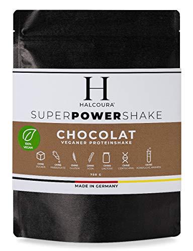 Halcoura Vegan Protein | Schokolade | Ohne Zucker, künstliche Süßstoffe und Aromen | Proteinpulver mit Reis-, Erbsen-, Sonnenblumen-, Mandel-, Kokos-, Lupinenprotein | 750g Pulver