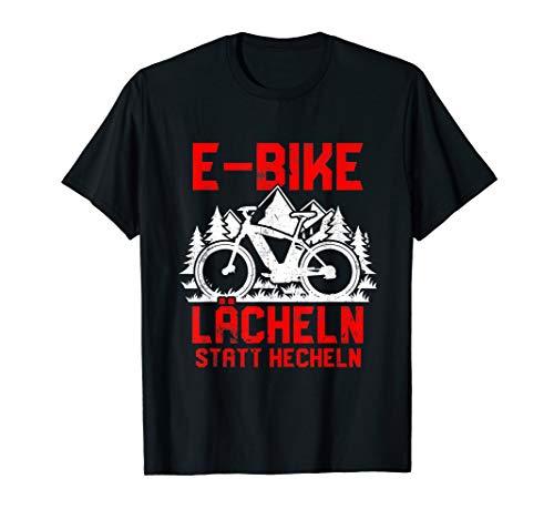 "\""Lächeln statt hecheln\"" | Lustiger Spruch Fahrrad E-Bike T-Shirt"