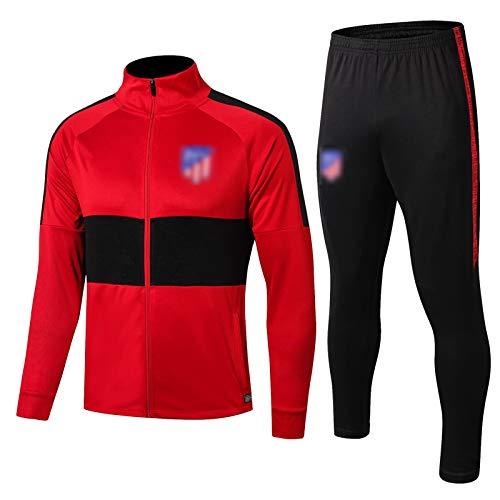QWW 19-20 Atléticǒ Màdrid Fútbol Traje de Entrenamiento Temporada Hombres Manga Larga Transpirable Fútbol Trajes de Entrenamiento de Fútbol Estiramiento Fitness Suits-2X Red-XXL