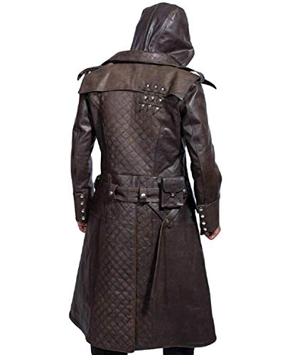 Assassin's Creed Syndicate Jacob Frye Brown Leather Trench Coat for Men (Large)