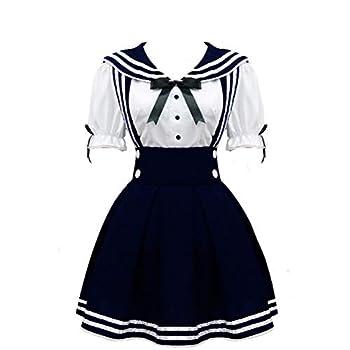 Cos StoreWomen s Navy Sailor School Girl Uniform Dress Japanese Anime Cosplay Costumes  L Deep Blue
