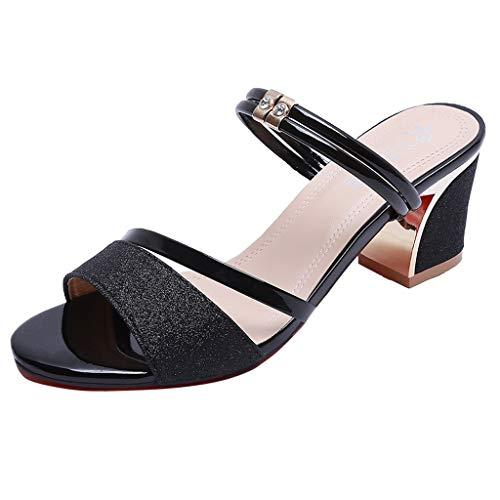 Zegeey Damen Sandalen Sommer Mit Absatz Blockabsatz High Heel Sandaletten Mode Silber Sommerschuhe(Schwarz,36 EU)