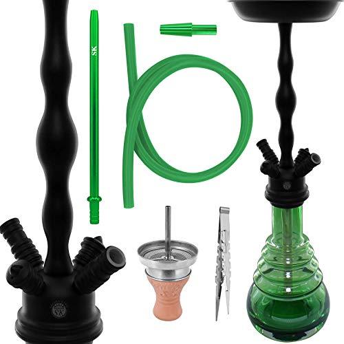 Shisha King® SKS 610 Wasserpfeife Set 78cm mit Klicksystem + Zubehör | große Hookah Waterpipe Komplett Schlauch Tonkopf Kaminaufsatz schöne Bowl (Black/Green)