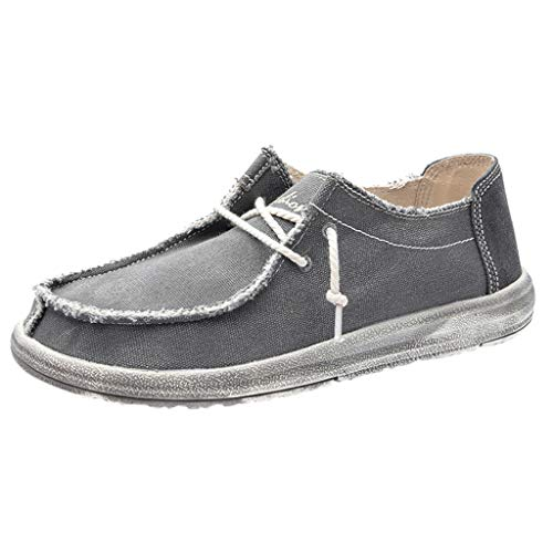 Best Buy! ZOMUSAR Men Canvas Breathable Casual Driving Shoes Slip Easy to Wear Flat Shoes Loafers Gr...