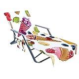Funda para silla de playa con bolsillo de almacenamiento lateral, cubierta para tumbonas de piscina, para tomar el sol, jardín, playa, hotel, fácil de llevar, no se desliza