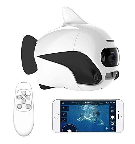 AHELT-J Drone Submarino Robot de Peces Pequeños Sumergible Inalámbrico Mando a Distancia para Drone con Cámara 4K HD, Conexión WiFi Bionic Diseño Peces Robot Mascota en Piscinas y Lagos,Blanco