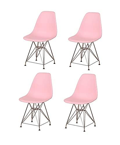 WV LeisureMaster set di 4 sedie da pranzo in plastica, con gambe in metallo, adatte per cucine e ristoranti