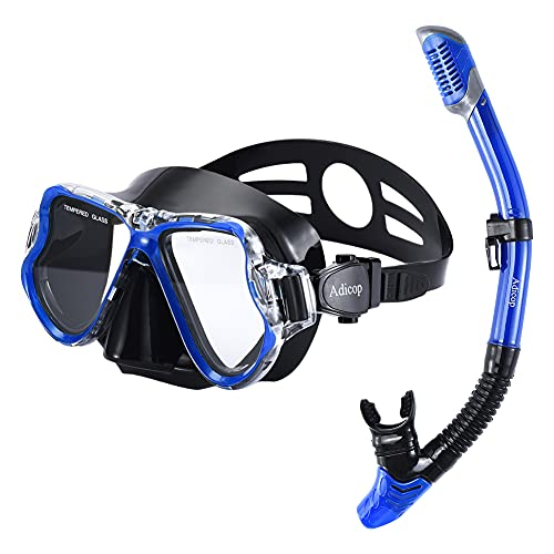 Adult Mask and Snorkel Set Snorkeling Gear Goggles and Snorkel Set Dry Snorkel Mask Scuba Diving Swimming Pool Training Equipment with Carrying Bag for Youth Men Womens