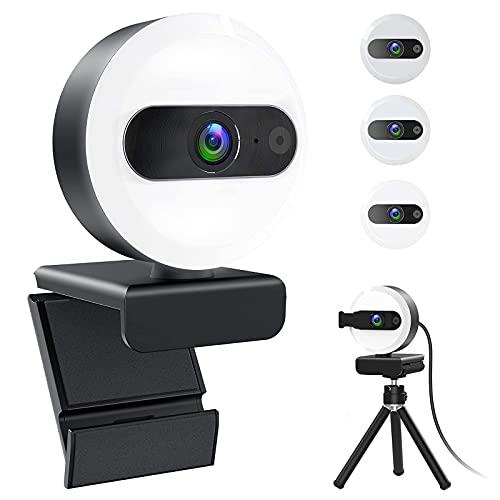 Webcam con Microfono QHD 2K 1440P Streaming Cámara web Tripode Anillo de Luz Disparo Gran Angular de 110° Rotación de 360° Autoenfoque USB Web Camera para PC Laptop Chromebook Windows Mac Android