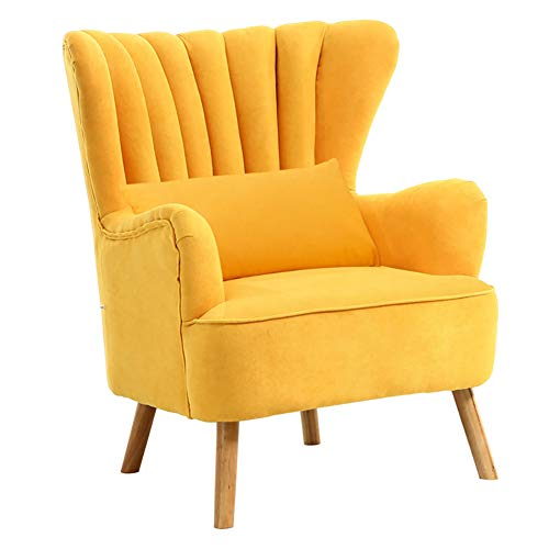 Warmiehomy Modern Suede Fabric Armchair Wing Back Occasional Chair Sofa Lounge Tub Chair Fireside Chair for Living Room Bedroom Conservatory (Yellow)