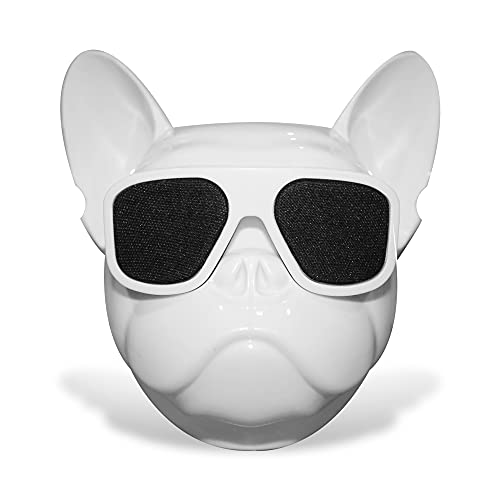 Dog Head Bluetooth Speaker, Wireless Portable Bass Sound Speaker, HiFi Subwoofer, Support TF Card, High Definition Sound and Beautiful Design - White