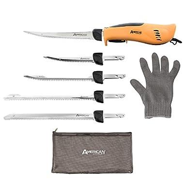 American Angler PRO Professional Grade Electric Fillet Knife Sportsmen's Kit – 110 Volt High Performance Ergonomic Motorized Handset with Five Kinds of Stainless Steel Blades, 32352DS