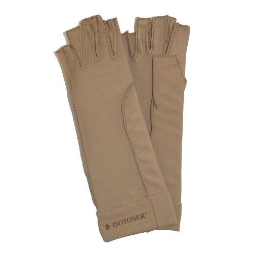Guantes de compresión isotoner terapéuticos con dedos abiertos, unisex -  Beige -  M