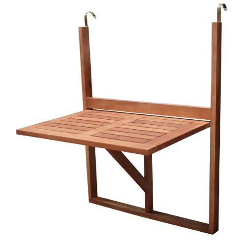 DEGAMO Balkonhängetisch 60x40cm klappbar, Akazienholz geölt