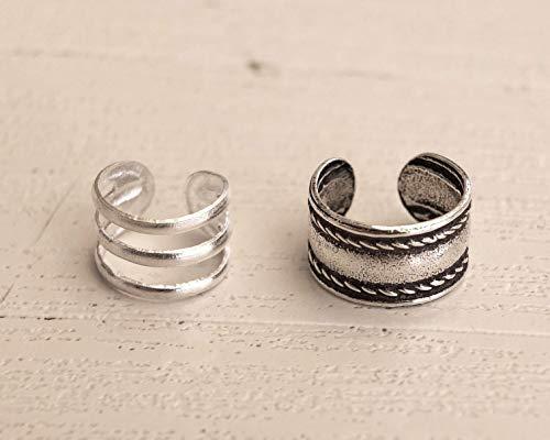 MiYa Jewelry Set of 2 Tiny Sterling Silver Ear Cuffs for Non-Pierced Ears - Triple Band Design & Wide Hoop w/Rope Detail, Small Cute Dainty Fake Double Piercing - Pierceless Clip Earrings for Women