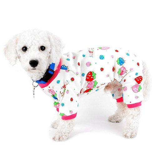 SELMAI Kleiner Hund Winter Schlafanzüge Fleece gefüttert Strawberry Pet Puppy Hund Innen Jumpsuit Coat Dackel Chihuahua Kleidung Outfits Apparel XXL