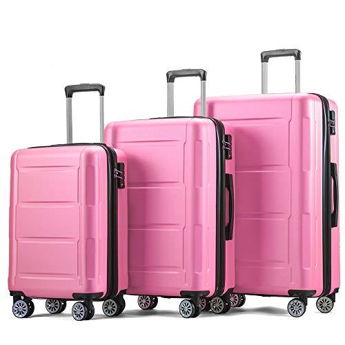 ABS Hartschalen-Koffer 3er Koffer-Set Trolley-Set Rollkoffer Reisekoffer Gepäck-Set 4 Rollen Pink Größe M L XL