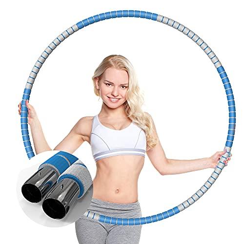 KINBETA Hula Hoop, Hula Hoop Reifen Erwachsene Zur Gewichtsreduktion und Massage Verwendet Werden KöNnen,8 Segmente Abnehmbarer Hoola Hoop Geeignet Für Fitness Blue