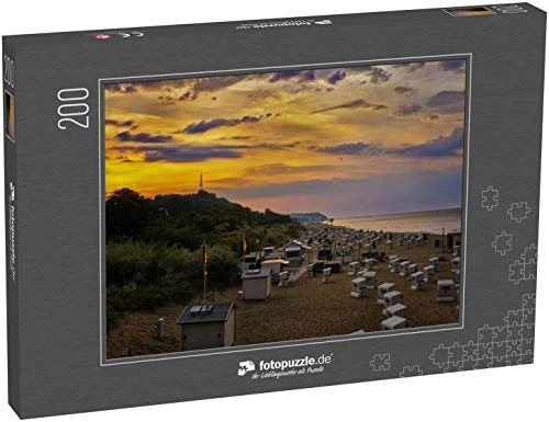 fotopuzzle.de Puzzle 200 Teile Strandkörbe im Sonnenuntergang am Strand in Heringsdorf auf der Insel Usedom. Ostsee in Deutschland (1000, 200 oder 2000 Teile)
