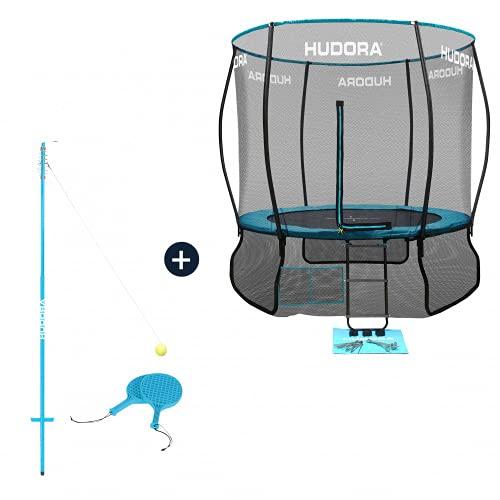 HUDORA Fantastic Complete Trampolin/Gartentrampolin, mit Sicherheitsnetz, 300 cm (Trampolin mit Twistballset)