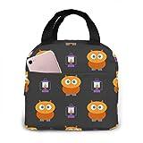 Bolsa de almuerzo aislada portátil con decoración feliz gris de murciélago de Halloween, bolsa Bento impermeable para oficina, escuela, senderismo, playa
