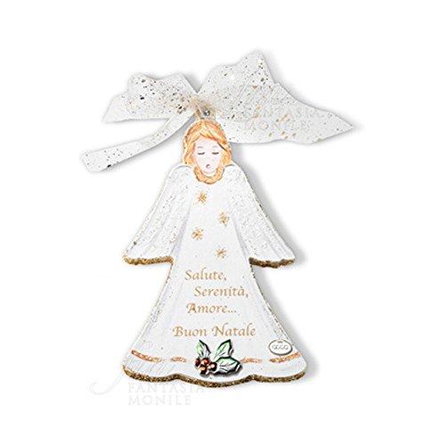 Weihnachtsdeko Engel mit Wunsch Holz bemalt silber 925Acca N 13AO