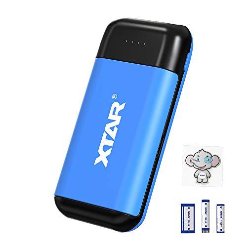 18650 Cargador de batería 2 bahía XTAR PB2C Cargador Inteligente Tipo C para baterías Planas sin protección Superior Plana 18650 Cargador de batería portátil con función de Salida USB (Blue)